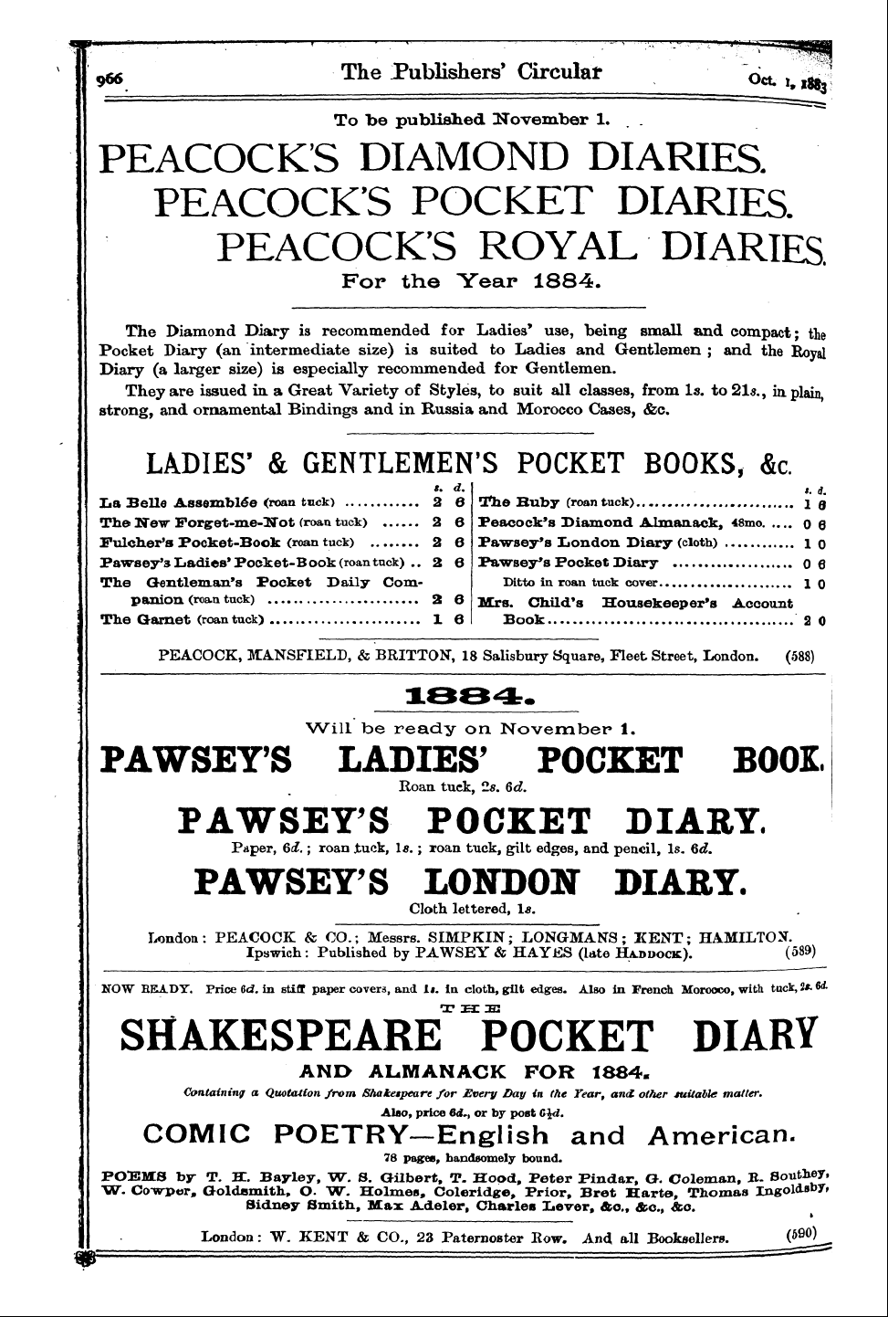 Publishers' Circular (1880-1890), 1st October 1883, Edition 1 of 1